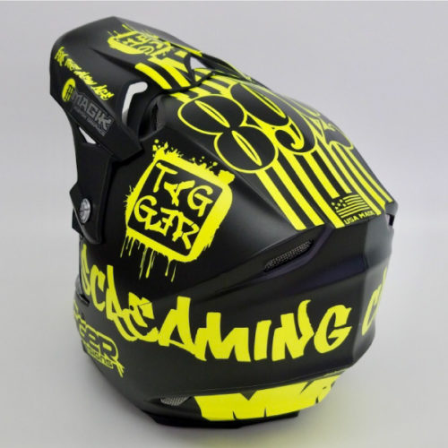 Tagger Crew neon yellow helmet wrap top