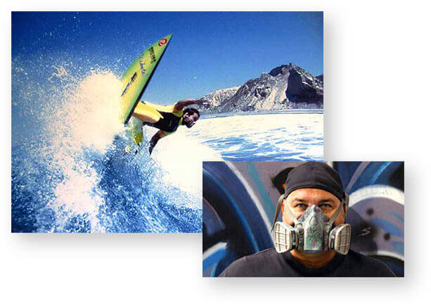 Tag was a pro surfer that designed his own board graphics