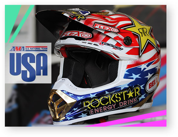 Tagger custom paints Team USA MXoN helmets